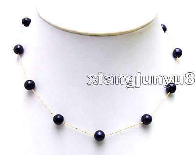 """SALE Floating 7-8mm Black AAA Round Natural FW pearl 14K gold 16"""" necklace-5894"""