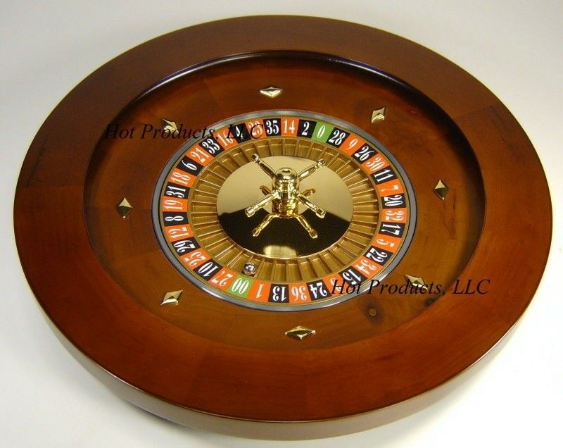 "Roulette Wheel 18"" SOLID WOOD Professional W/ RAKE"