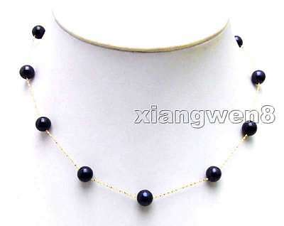 """SALE Starriness  6-7mm Black AAA Natural FW pearl 14K gold 18"""" necklace-nec5894"""