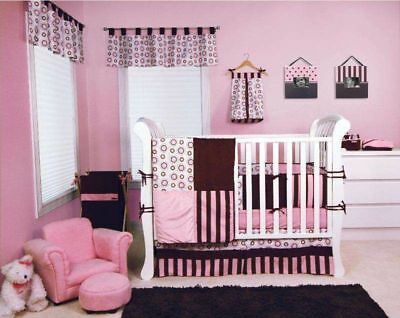 Trend Lab Crib Bedding 4pc Set – Bubblegum (Pink and (Baby Girl Bedding Sets Pink And Brown)