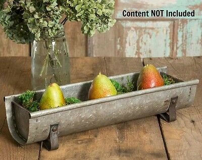 New Primitive Farmhouse Chic CHICKEN FEEDER TROUGH Metal Tray Caddy Centerpiece