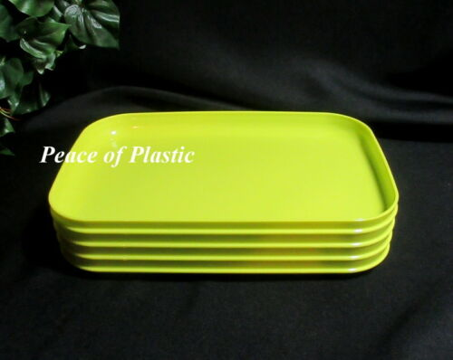 Tupperware New Rectangular Luncheon Lunch Picnic Plates Green Set of 4