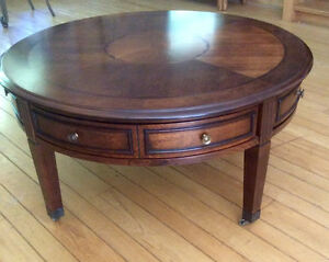 Beautiful Round Table, Round Drawers, Metal Wheels - St. Thomas