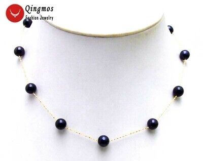 """Floating 6-7mm Black Round AAA Natural FW Pearl 14K Gold 18"""" Necklace for Women"""