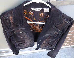 Womens Corduroy Jacket PARASUCO Moto Style SizeM Distressed Wash