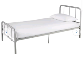 Brand new silver single metal bed frame