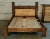 Hand Built Two Tone Queen Bed Frame