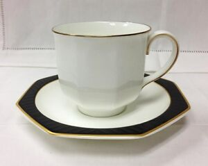 villeroy boch black pearl teacup saucer bone china he. Black Bedroom Furniture Sets. Home Design Ideas