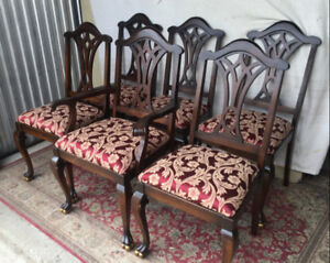 6 Elegant antique dining chairs, Anthes Baetz, refinished (deliv