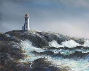 Ivan Fraser - Oil Painting - Peggy's Cove Lighthouse and Rocks