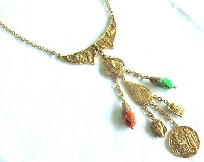 Gestempelt Art Vtg Ägyptische Revival Kragen-Halskette Pharao Spinx mit Steinen ()