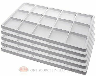 5 White Insert Tray Liners W 15 Compartments Drawer Organizer Jewelry Displays