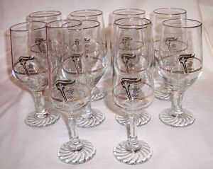 Set of 10 Olympic Torch Stemmed Glasses ~ Petro Canada Promo