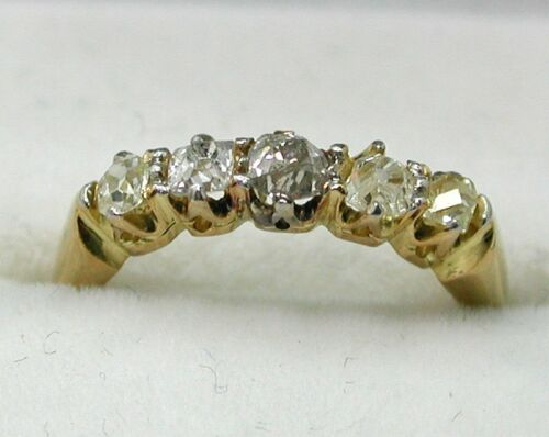 Antique Lovely 18 carat Gold 0.50 Carat Five Stone Diamond Ring Small Size F