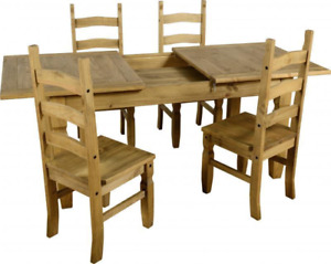 Mexican Pine Table with 4 chairs (with expansion leaf)