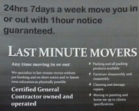 LAST MINUTE MOVERS Call anytime 24/7
