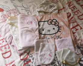 Baby girls towels and wash mitts bundle