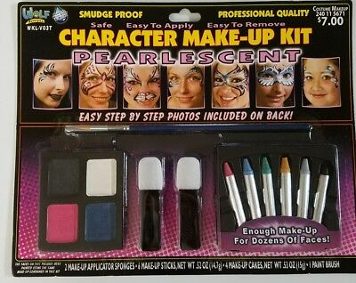 Wolf Novelties Character Makeup Kit Pearlescent Halloween w/ Instruction Booklet