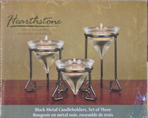 HEARTHSTONE Black Metal and Glass Candle Holders