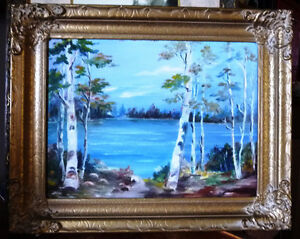 "Original Oil Painting by Mrs. Jack Douglas ""Owen Sound"" 1950 Stratford Kitchener Area image 1"