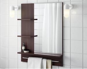 Miroir avec tablettes et porte serviette - Lillangen Ikéa