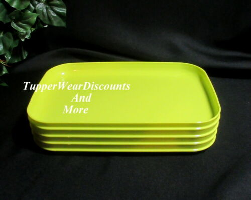 Tupperware New Rectangular Stackable Lunch Picnic Plates Bright Green Set of 4
