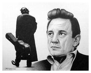 new JOHNNY CASH & other portrait drawings