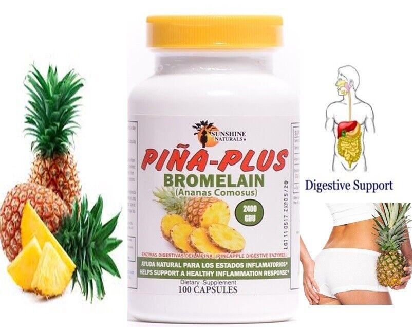 Ultra Strength Bromelain Pineapple Enzyme Bottle 2400g  100 Capsules Pills NoGMO