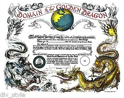 Domain of the Golden Dragon Certificate blank mint US Naval Institute