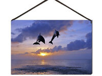 LED CANVAS PRINT DOLPHINS JUMPING OUT OF SEA WATER AT SUNSET or DAWN 15cm x 22cm