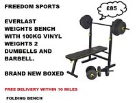 Everlast Folding Bench with 100kg Vinyl Weights Set 2 Dumbells and Barbell BNB