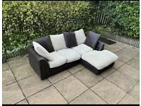 Fabric brown and beige corner sofa can be delivered