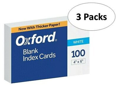 Oxford 40 4 X 6 Blank Index Cards - White 100pack 3 Pack