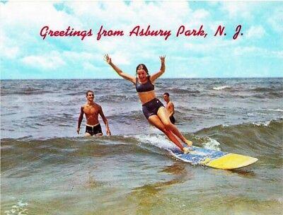 Riding the Surf, Asbury Park, NJ REPRO Vintage Postcard Z520886