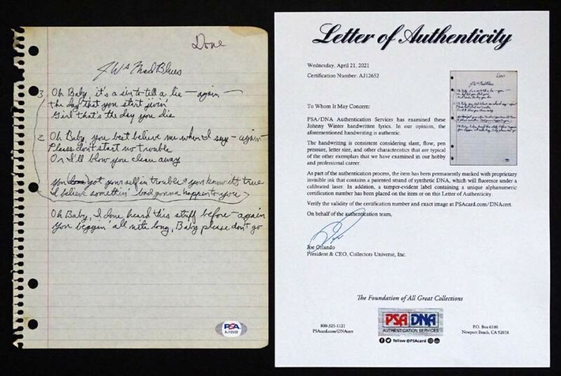 1970s RARE! JOHNNY WINTER Handwritten MAD BLUES Song Lyrics with PSA/DNA COA