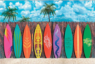 Surf's Up Surfboard Backdrop PHOTO PROP Surfing Party Pics Beach Luau Decoration - Luau Background