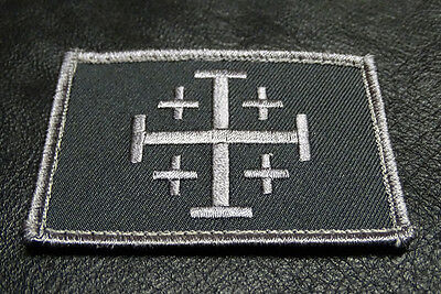 JERUSALEM CROSS INFIDEL CRUSADER EMBROIDERED ACU HOOK MORALE PATCH