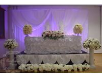 Wedding Events Decorations includes Stage Set Up, Top Table & Throne Chair Beaded Charger Plate etc