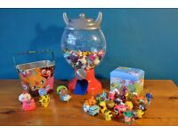 72 Moshi Monster Figures, figure dispenser, money box, tin and collectors cards