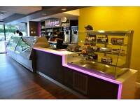 Corian counter, LED, Seating, Shelves, Shop display. Dessert parlour