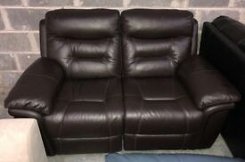DFS Evolution brown leather electric recliner sofa