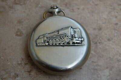 Vintage Wind Up MOLNIJA RAILROAD Pocket Watch,Embossed Train Case,Running,Russia