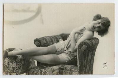 1920s French Deco Risque Nude CUTE FLAPPER Lingerie photo postcard PC Paris 1605