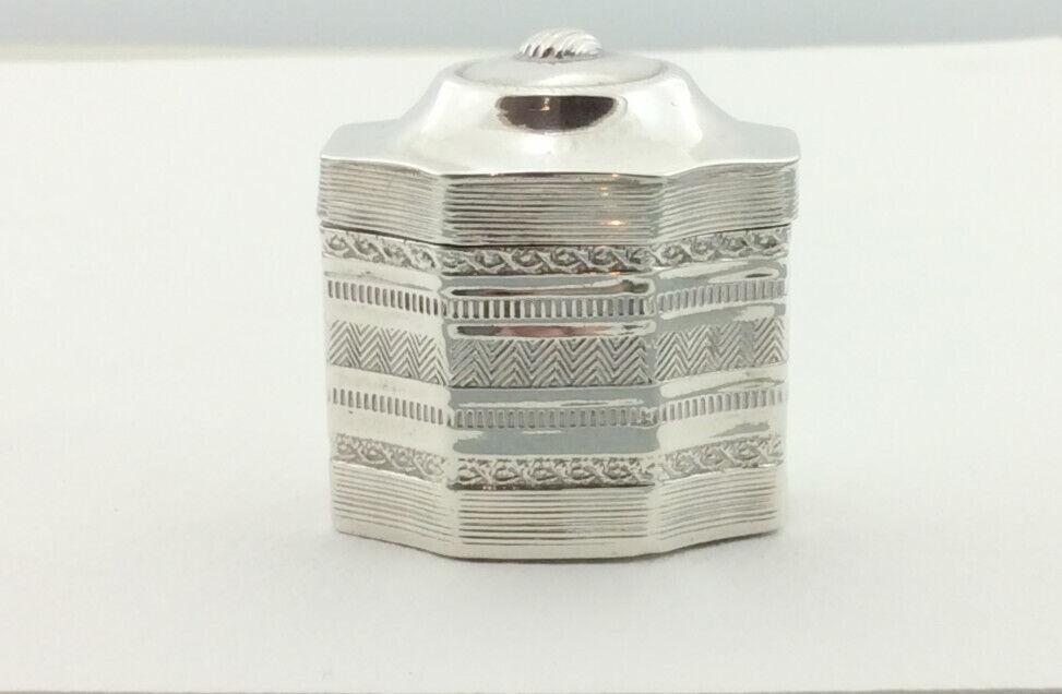 ANTIQUE DUTCH SILVER PEPPERMINT BOX 1848