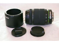 Pentax smc DA 55-300mm f/4.0-5.8 ED zoom DSLR lens, pouch, K mount. May swap for Sigma 10-20mm