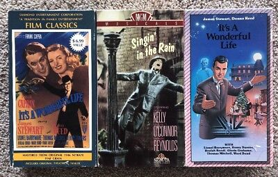 Singin' In The Rain / It's A Wonderful Life -Lot Of 3 VHS Classic Movies Vintage