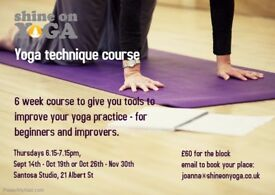 Yoga technique - 6 week course for beginners and improvers