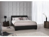 BRAND NEW DOUBLE LEATHER BED + MATTRESS