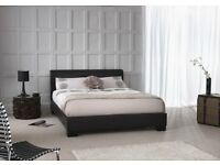 Can Deliver Now Or Day Of Choice Double Leather Bed / 10inch Memory foam Mattress Option Brand New