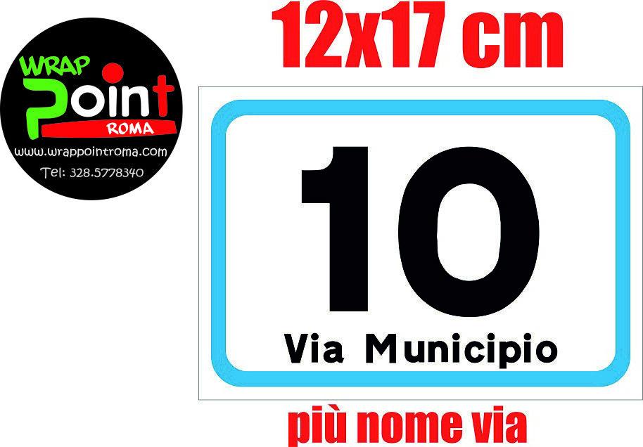 Numeri civici numero civico ALLUMINIO DIBOND RIFRANGENTE numero e via 12x17 cm